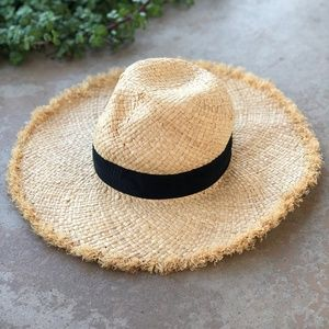 Kate Spade Black Ribbon Frayed Straw Sun Hat